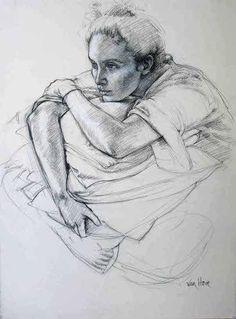 Les Bas noirs Pierre Noire sur papier 77 x 57 cm Galerie Alain Blondel +