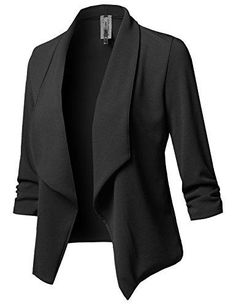 e73f8cc2be Women Solid Stretch 3/4 Gathered Sleeve Open Blazer Jacket Women Solid  Stretch 3/4 Gathered Sleeve Open Blazer Jacket