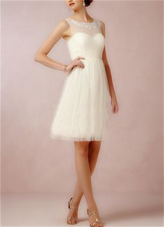 Customizable white or blush short Bridesmaids dress