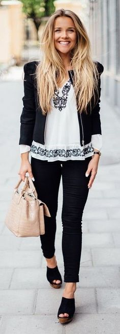 #spring #style #fashionistas #outfitideas | Black And White Boho Chic Outfit | Molly Rustas