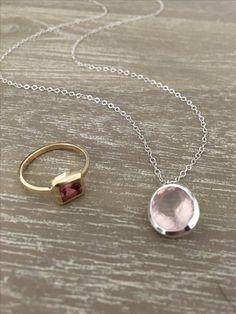 Silver Rose Quartz Pendant ❖ Pink Tourmaline 14k Gold Ring #LiliKlein #Jewelry