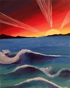 "Paint Nite Boston | Busa Wine Spirits ""Life's A Beach!"""