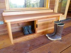 Bench with storage for front porch - A great idea - Shoes etc in one side and a Cat litter box in the other end... BRILLIANT - - To connect with us, and our community of people from Australia and around the world, learning how to live large in small places, visit us at www.Facebook.com/TinyHousesAustralia