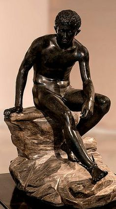 """marble type of """"Seated Hermes"""" - Roman copy after work of by Lysippos. the bronze Seated Hermes, found at the Villa of the Papyri in Herculaneum in 1758, at the National Archaeological Museum of Naples"""