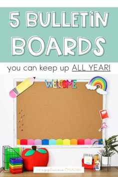 bulletin boards you can keep up all year. Love these 5 suggestions for boards you can keep up all year. TheAppliciousTeacher.com Classroom Decor Themes, Classroom Organization, Classroom Ideas, Teacher Blogs, Teacher Resources, Stem Bulletin Boards, Student Picture, Student Birthdays, Interactive Board