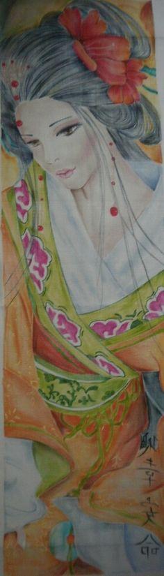 japon pano perde üzerine el boyama çalışmam