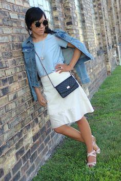 Dreamy creamy silk skirt + dusky blue aquamarine blouse + jean jacket. #SummerFashion #StreetStyle #WomensFashion