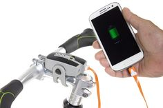 Use the ReeCharge Power Pack to charge your phone on or off your bike. http://www.thinkbiologic.com/products/reecharge-power-pack