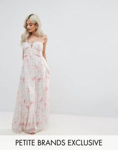 Boohoo Petite Floral Bandeau Maxi Dress