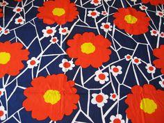 "UNUSED Vtg Mod 1970's BOLD Floral Cotton Fabric Retro 100x45"" Marimekko Era 2.7Y   eBay"