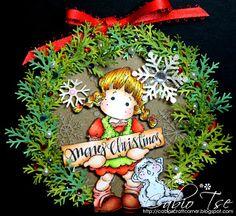 Cabio's Craft Corner: Magnolia Tilda with Cat Wreath ornament with gift box