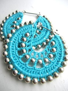 Crocheted hoops and silver beads by BohemianHooksJewelry on Etsy