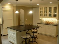 """Sorry but many other competing activities my time so I finally have had a chance to get DH to upload the pictures of the completed kitchen. Product details... * Cabinets - Inset painted maple (Oxford Cabinet Shop) * Backslash - 1""""x2"""" quartzite (Walker Zanger) * Counters - PA Green soapston..."""