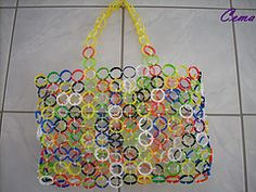 Sand toy bag made from water bottle collars