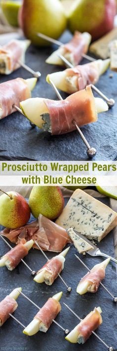 Prosciutto Wrapped Pears with Blue Cheese | This 3 ingredients, easy to make appetizer is sweet, salty, tangy and hard to stop after eating just one!