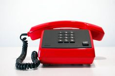 Vintage Push Button Telephone. Bright Red. Made in East Germany. GDR. DDR. 1980s.