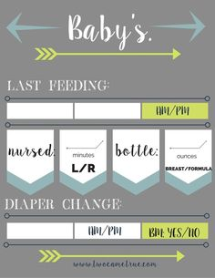 ALERT: FREE PRINTABLES!  Get great organizational tips for new twin moms and easily keep track of your babies' minute by minute needs with this tracker.  Simply print, frame and place around the house with dry erase markers to track every feeding and diaper change.
