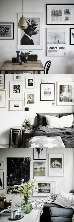 Scandinavian picture wall ideas - a mixture of frame sizes. Are you looking for unique and beautiful art photos to create your own gallery wall? Visit bx3foto.etsy.com