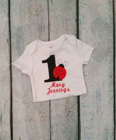 Baby Girl first birthday ladybug Outfit- b-day one-sie, first birthdayoutfit - Toddler girl,  Baby Girl personalized , 1st Birthday  girl on Etsy, $19.50