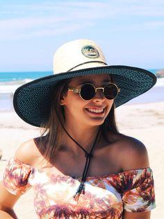 Chapéu de Palha Surf Forrado - Poá azul marinho com azul piscina ccf89e0a859