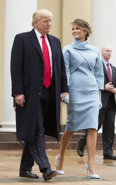 The President Donald Trump and First Lady Melania Trump at the inauguration. The First Lady in Ralph Lauren. Inauguration Day 2017, Melania Trump Inauguration, Inauguration Ceremony, Trump Melania, First Lady Melania Trump, Donald Trump, Marie Claire, Vietnam, Pale Blue Dresses