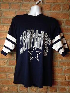 vintage 90s DALLAS COWBOYS LOGO 7 STRIPED BLUE GRAY JERSEY t-shirt FOOTBALL L  | eBay