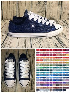 Womens Sparkly Navy Blue Glitter Crystals Converse All Stars sneakers  wedding bride shoes 320489e0dcf