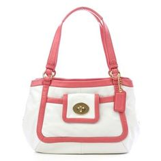 $229.99-$398.00 Handbags  Coach Leather Cricket Satchel Bag Tote 13601 White Coral - Lightweight leather with patent or metallic leather trim. ~Guaranteed Authentic or Money Back ~ http://www.amazon.com/dp/B002GG17R6/?tag=pin0ce-20