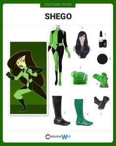 cartoon costumes diy Transform into the villainess Shego, the evil sidekick of Dr. Drakken from the Disney animated TV show Kim Possible. Shego Halloween Costume, Group Halloween Costumes, Halloween Outfits, Cool Costumes, Cosplay Costumes, Costume Ideas, Couple Halloween, Halloween Ideas, 90s Cartoon Costumes