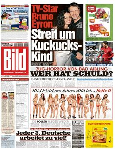 #20160211 #Germany #DeutscheZEITUNGenHEUTE #BILD Donnerstag Thursday FEB 11 2016 http://en.kiosko.net/de/2016-02-11/