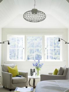 Attic - I dream of creating an attic space that is an oasis for our guests, where they would enjoy the privacy of this little getaway. I adore the raised geometric ceiling, which is softened by the rounded edges of the spherical chandelier.