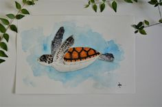 Penguin Watercolor, Watercolor Sea, Watercolour Painting, Sea Turtle Painting, Winter Painting, Sea Birds, Minimalist Art, Blue Bird, Original Paintings