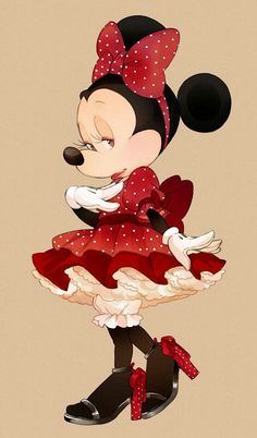 Sweet Minnie Mouse in red with tiny polka dots all around