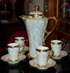 Antique Limoges Chocolate Pot 4 Cups & Saucers, Heavy Gold