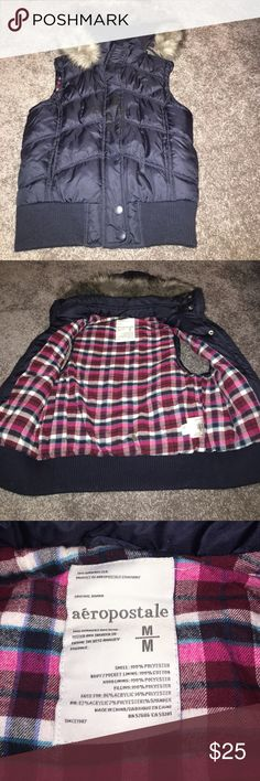 Blue Aeropostale Winter Vest. Worn a handful of times, in great condition. Size medium, the hood is removable. Will model if needed, make an offer! Aeropostale Jackets & Coats Vests