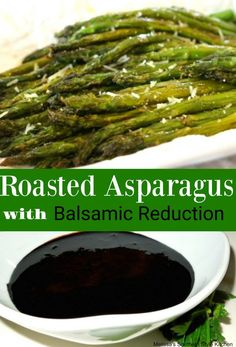 Roasted Asparagus With A Balsamic Reduction - Asparagus is such an elegant vegetable, and takes such little time to prepare. Roasting is by far my favorite way to serve it, and the balsamic reduction adds a nice pick me up to the flavor. Avocado Recipes, Veggie Recipes, Healthy Recipes, Bariatric Recipes, Healthy Foods, Healthy Eating, Raw Vegetables, Roasted Vegetables, Veggies
