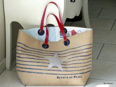 """sac cabas XL en toile de jute à rayures marines et étoile argent """"retour de plage"""" de la boutique bykarbon sur Etsy"""
