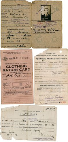 Documents from ANZAC A.K.Colmer including war leave form, enrollment form, clothing ration and food rations cards. #letweremember #australiaremembers