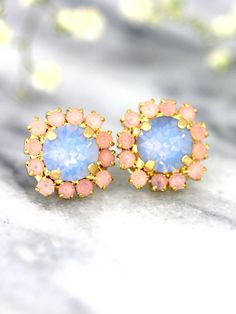 Blue Pink Earrings Rose Quartz Serenity Earrings by iloniti Bridesmaid Earrings, Bridal Earrings, Bridal Jewelry, Bridesmaids, Jewelry Box, Rose Quartz Serenity, Pastel Roses, Opal Earrings, Stylish Jewelry