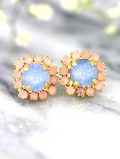 Blue Pink Earrings Rose Quartz Serenity Earrings by iloniti Bridesmaid Earrings, Bridal Earrings, Bridal Jewelry, Bridesmaids, Jewelry Box, Jewellery, Rose Quartz Serenity, Pastel Roses, Opal Earrings