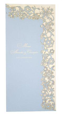 Chartula - Snowflake Bespoke Laser Cut Menu - Bluebell Cream - Luxury wedding stationery for a winter wedding by www.chartula.co.uk