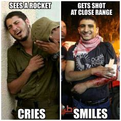 That's us . . who get shot and still have the ability to smile :) Our strong and courageous Palestinians vs the coward killers
