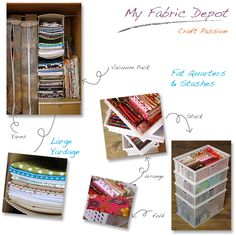 I used stackable container for stashes and fat quarters, and hanging shelf for bigger yardage fabric.