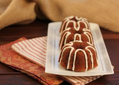 Mini Pumpkin Bundt Cakes with Cream Cheese Drizzle~ - That Skinny Chick Can Bake