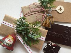 artisanal chocolate bars with sustainable gift wrapping, gifting with a conscience :)