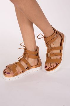 Tanned lace up sandals