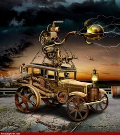 Awesome steampunk vintage car artwork! #Steampunk #car