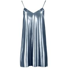 Boohoo Melody Metallic Faux Leather Slip Dress (205 DKK) ❤ liked on Polyvore featuring dresses, cami slip dress, blue bodycon dress, blue camisole, blue evening dresses and body con dress
