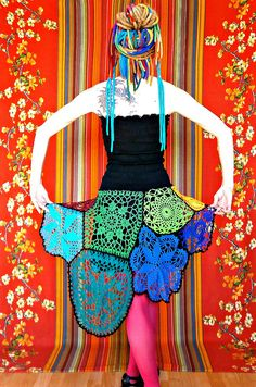 Patchwork crocheted doilies together to make a skirt. A must have for the whimsical.