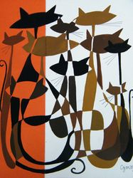 overlapping cats (in red, brown, black & white), 2009, by CZM/El Gato Gomez